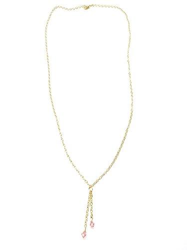 Necklace Lariat Crystal Swarovski (Long Lariat Tassel Chain Y Necklace Swarovski Pink Crystal Gold 30 inches)
