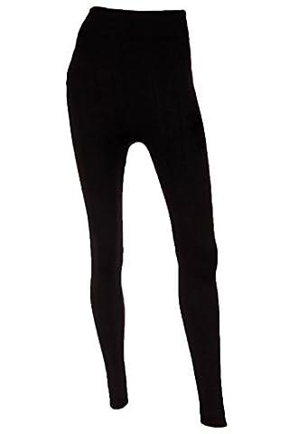 Mopas Women's Fleece Lined Solid Color Full Length Leggings-Black One Size