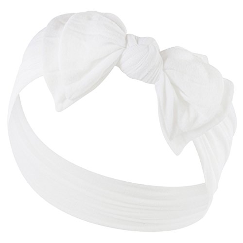 DOUBLE BOW FAVORITE BABY HEADBANDS - Baby Headband For Newborn Headbands and Baby Girls Headbands,True White,Newborn and -