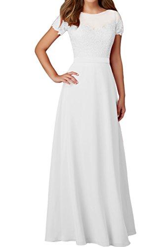 Rundkragen Aermeln Damen Weiß Festkleider Elegant Ballkleid Mit Spitze Abendkleider Ivydressing x4HIw