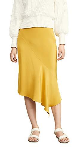 TSE Cashmere Women's Draped Bias Skirt, Summer Olive, Yellow, 6