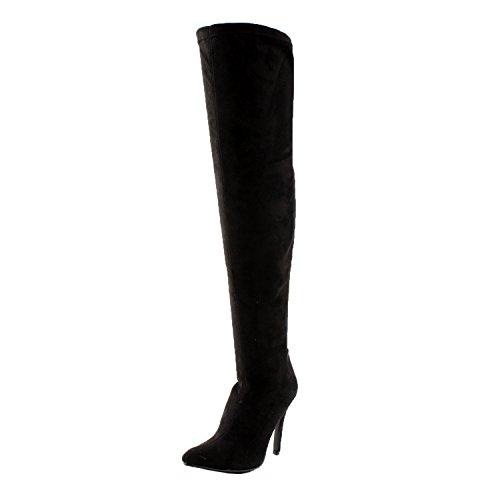 Breckelle's Beverly-15 Women Faux Suede Pointy Toe Stiletto Heel Thigh High Boot,Black (Stiletto Heel Thigh Boot)