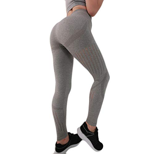 Landscap Women Seamless Sexy Hip Tight Sports Fitness Running Printed Workout Leggings Gym Yoga Pants(Gray,S)