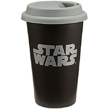 16fe063c295 Vandor LLC 99251 Star Wars Double Wall Ceramic Travel Mug with Silicone Lid,  12-