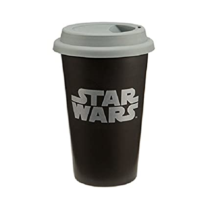 9ca67d9e3b6 Amazon.com: Vandor LLC 99251 Star Wars Double Wall Ceramic Travel Mug with Silicone  Lid, 12-Ounce, Black and Gray: Star Wars Cups: Kitchen & Dining