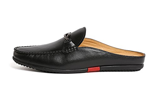 Santimon Mules Clog Slippers Men Fashion Patent Leather Slip on Shoes Casual Loafers Black 9 D(M) US by Santimon (Image #2)