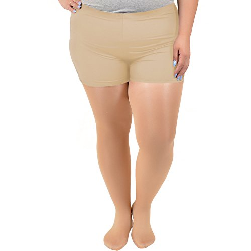 Stretch is Comfort Women's Plus Size NYLON SPANDEX Booty Shorts Beige ()