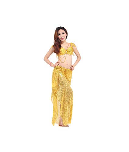 Belly Dance Costume (Bellydance Bra+Shiny Skirts) Bollywood Dance Costumes Dress,Yellow,M]()