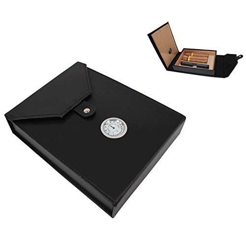 AMANCY Beautiful 5-10 Capacity Cedar Wood Lined Leather Portable Travel Cigar Humidor Case,Easily Carry Anywhere