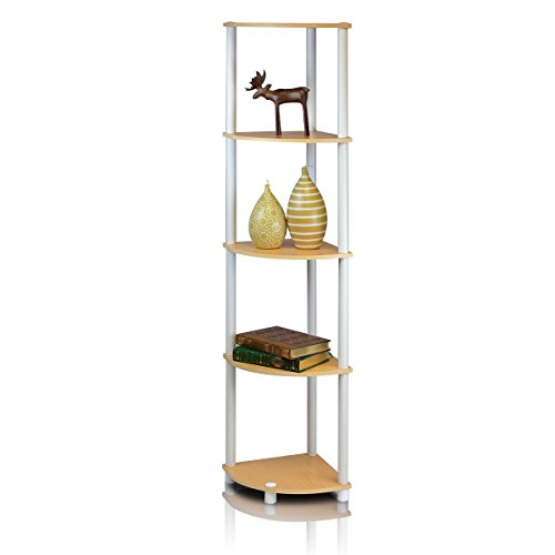 Furinno 99811BE/WH Turn-n-Tube 5-Tier Corner Shelf, -
