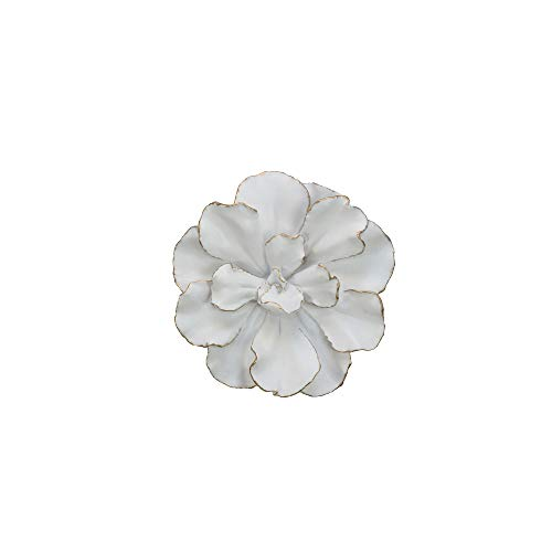 Stone Metal Sconce - Sagebrook Home 12040-01 Flower Wall Plaque, White/Gold Polyresin, 10 x 10 x 2.5 Inches,