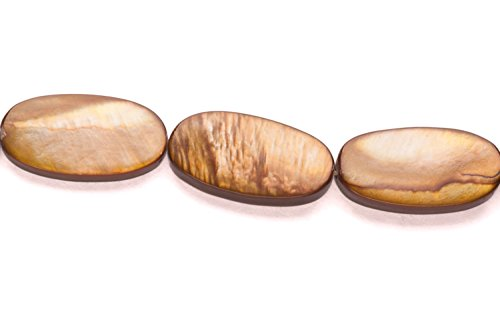 Sepia Brown Mother-Of-Pearl Flat Oval Shell Beads Size:21x11mm (Sepia Shell)