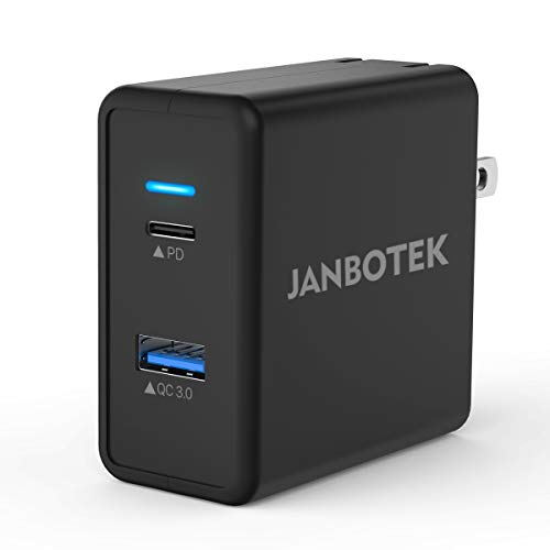 USB C Wall Charger, JANBOTEK 30w Dual Ports Charger with Foldable Plug, PD and Quick Charge 3.0 Ports for MacBook Air/iPad Pro, Apple iPhone XS/Max/XR/X/8/8+, Huawei Mate 9/Mate 10/P10/P20,Black.