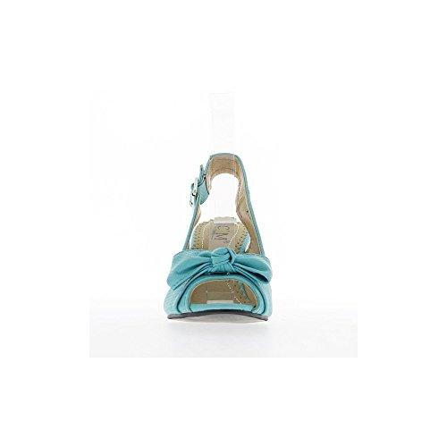 Sandales bleues à talon compensé de 8cm