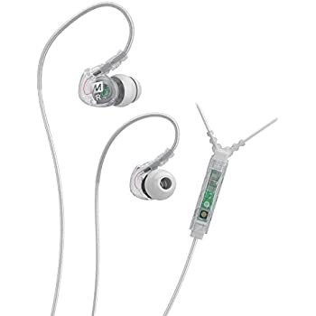 MEE audio Sport-Fi M6P Memory Wire In-Ear Headphones with Microphone, Remote, and Universal Volume Control (Clear)