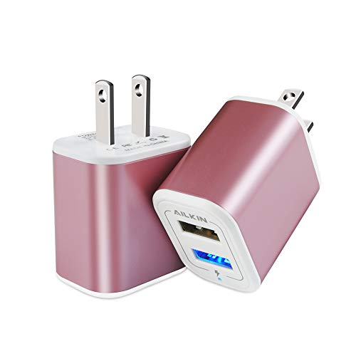 Outlets Base (Charger Base, USB Brick, Ailkin 2Pack High Speed Charging Blocks USB Outlet Plug Charger Base Box Cube Plug Compatible with iPhone, LG, Sony, Samsung, Moto, Kindle, iPad and More USB Wall Charger)