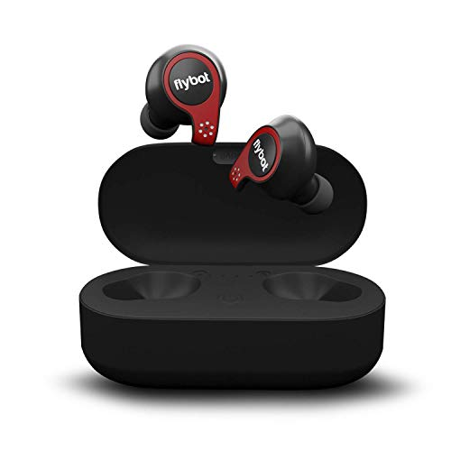 (Renewed) Flybot Active True Wireless Bluetooth 5.0 Earphones with mic and Charging case   IPX7 Waterproof Sports Headset – Black