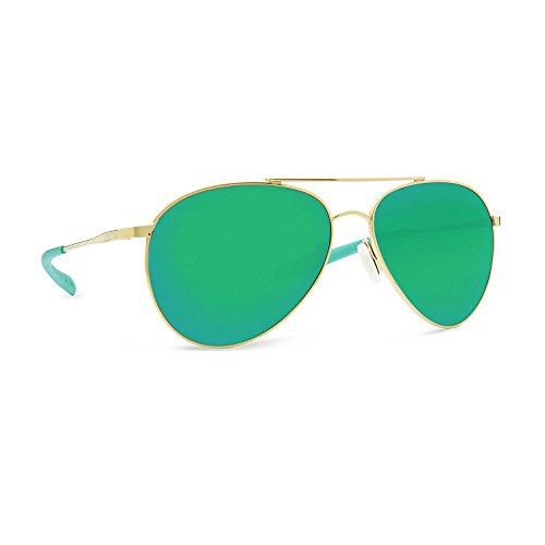 (Costa Del Mar Piper Sunglasses Shiny Gold/Green Mirror 580Glass)