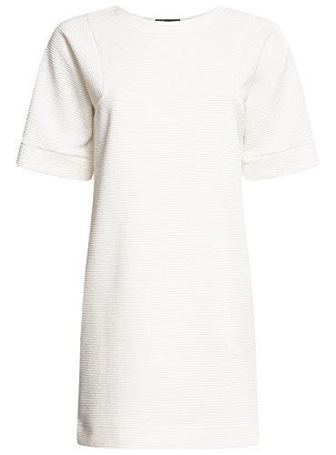 oodji Ultra Mujer Vestido Texturizado de Corte Libre Blanco (1200N)