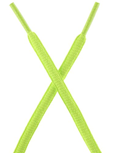 Stretchable Shoelaces (Mshega Oval Athletic Shoelaces Half Round Shoe Laces 2 Pair(NeonGreen,120))