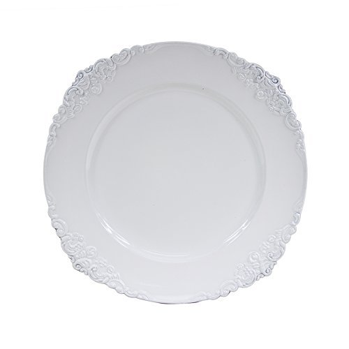 (Koyal Wholesale Vintage Charger Plate, White (Pack of 4))