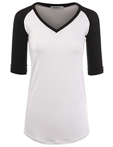 - Doublju Women's V-Neck Raglan Top Team Uniform Raglan 3/4 Sleeve Shirt, WHITEBLACK S