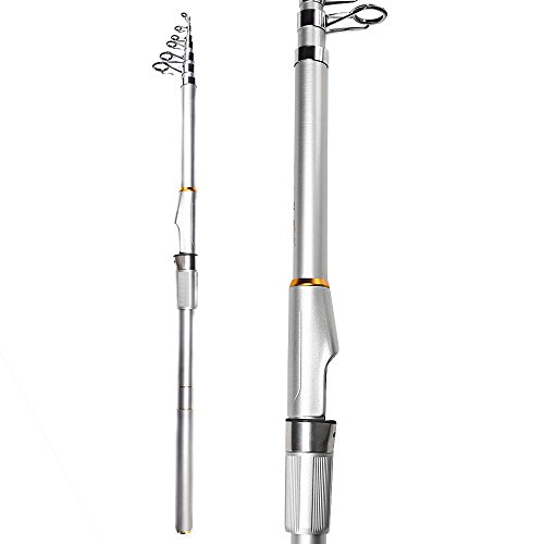 Handing Magician Graphite Fishing Rod Medium Heavy Telescopic Fishing Rod Freshwater and Asltwater Available Metal Silver Color Easy and Convenient for Camping 3.0m/6sections (Graphite Telescopic Rod)