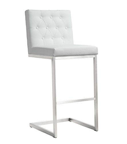 Tov Furniture The Helsinki Collection Modern Style Eco-Leather Upholstered Stainless Steel Barstool (Set of 2), White (Bar Stools Luxury)