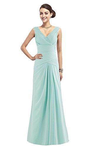 COCOMELODY Women's A Line Long Strap V Neck Bridesmaid Dress Tiffany Blue 6