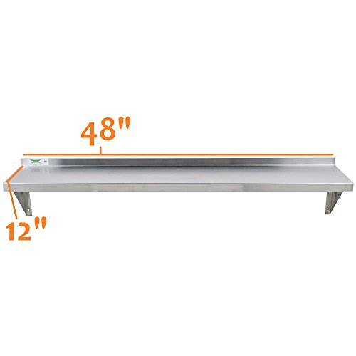 Stainless Steel Commercial Wall Shelf ( 12 W x 48L )18 Ga. with Mounting Brackets NSF APPROVED ROYAL INDUSTRIES by Royal Industries (Image #6)