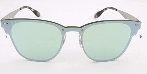 Ray-Ban RB3576N Blaze Clubmaster Square Metal Sunglasses, Brushed Silver/Green Silver Mirror, 47 mm (Frame Ray Steel Ban)
