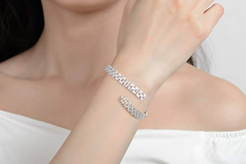 ROYANI Brass Alloy Silver Bangles Jewellery Sets For Womens Sparking Cubic Zirconia Bracelets Bangle Adjustable Cuff Bracelets For Women Bracelets For Ladies Parties Braclets