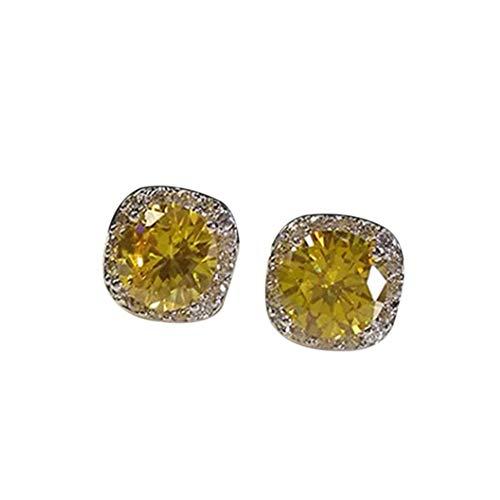 soAR9opeoF Women Earrings Fashion Round Cubic Zirconia Rhinestone Ear Stud Earrings Party Jewelry - Yellow ()