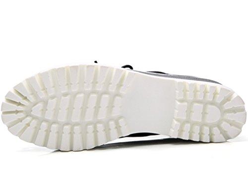 Dadawen Moda Donna Allacciata Piattaforma Casual Scarpe Oxford A Punta Quadrata Nero-nuovo Stile