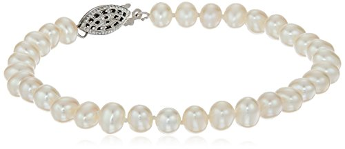 Bracelet Freshwater Pearl Shape (Sterling Silver White Freshwater Cultured A Quality Pearl Bracelet (5.5-6mm), 7.25