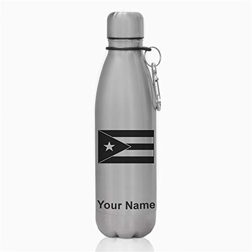 Water Bottle, Flag of Puerto Rico, Personalized Engraving Included