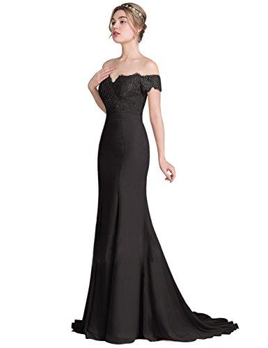 Frauen Kleidern Schwarz Erosebridal für Brautjunfernkleider Spitze Meerjungfrau Partei Abendkleid TOnXtnFgq