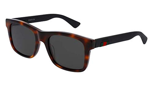 Gucci GG 0008S 006 Havana Plastic Square Sunglasses Grey Polarized Lens ()