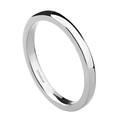 TIGRADE 2mm Titanium Ring Plain Dome High Polished Wedding Band Ring Comfort Fit Size 4-15(Titanium, 11) ()