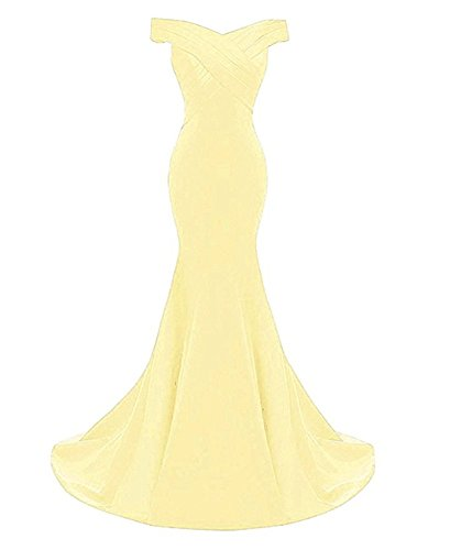 FWVR Women's Evening Prom Dresses Long Formal Wedding Party Gowns Taffeta Yellow 4