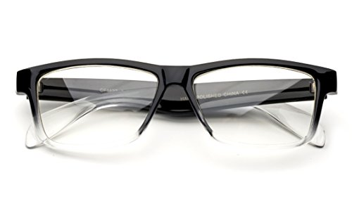 Unisex Clear Frames Squared Design Comfortable Stlyish for Women and Men Black/Clear 2