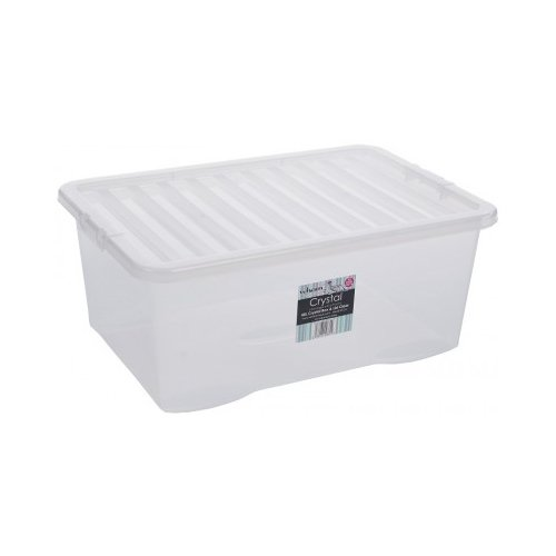 CrazyGadget 5x 45 Litre CLEAR PLASTIC STACKER BOX Large Storage Box With Lids