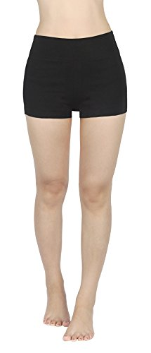 4How Damen SportHosen Leggings sportwear kurze Hose Shorts Running Pants schwarz, L