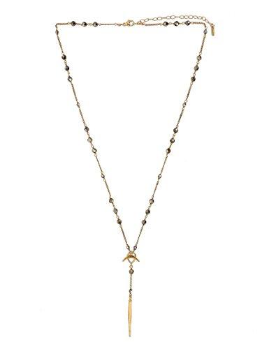 Chan Luu Metallic Light Gold Gunmetal Swarovski Crystal Y Style Necklace Adjustable