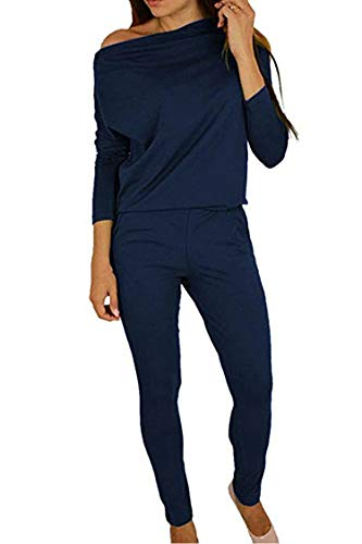 Women's 1PC Trendy Jumpsuit Sleeveless Broken Hole Waisted Club Long Romper Outfit, Small,  09-navy Blue
