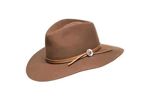 - Jamie Slye The Phoebe Wool Felt Fedora with Wide Brim and Leather Hat Band (Chestnut, Medium)