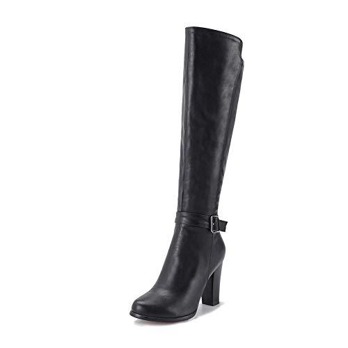 Altos Tacones Dropship Invierno Nuevo Mujer Agregar De Tamaño 34 Botas 43 Gran Altas Black Rodilla Señora Piel Zapatos Hoesczs C6FORR