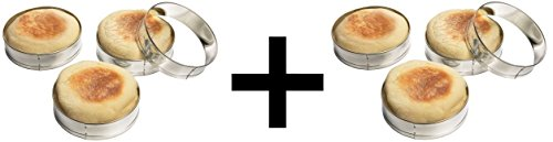 Fox Run Set of Four English Muffin Rings, 4 Ct, (Pack of 2) (Metal Muffin Tin)