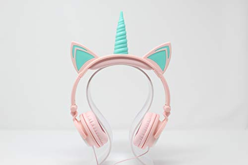 Gabba Goods Premium LED Light Up in The Dark Unicorn Over The Ear Comfort Padded Stereo Headphones with AUX Cable   Earphones