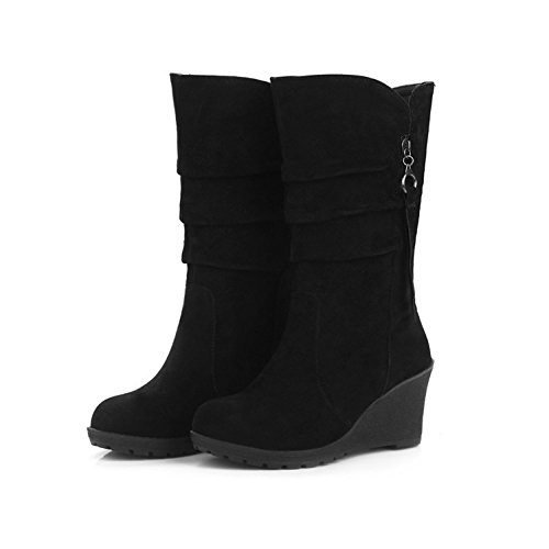 Automne En chaud Garder De Wedges Chaussures Doublées Eastlion et Wearable Neige Femmes Molleton Extérieur Noir Au Pour Bottes Hiver dnYAwx68q